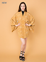 Vintage Abstract Print Silk Haori Kimono Jacket