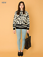 Vintage Patterned Metallic Knit Sweater