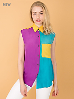Vintage Color Block Sleeveless Silk Blouse
