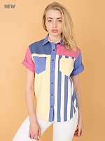 Vintage Gitano Color Block Cotton Short-Sleeve Button-Up