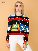 Vintage Colorful Matisse-Inspired Cropped Rayon Jacket
