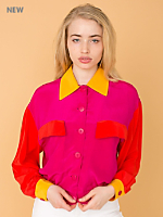 Vintage Color Block Cropped Silk Button-Up Blouse