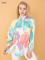 Vintage Watercolor Print Button-Up Blouse