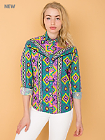 Vintage Colorful Western Button-Up