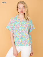 Vintage Bright Print Short-Sleeve Button-Up