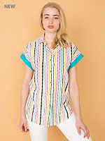 Vintage Bright Striped Short-Sleeve Button-Up