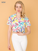 California Select Originals Cropped Short-Sleeve Cotton Button-Up