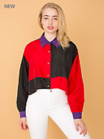 California Select Originals Cropped Silk Button-Up