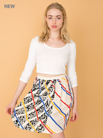 Vintage Patterned Silk Skirt