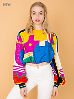 Vintage Colorful Silky Cropped Blouse