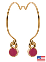 Fuchsia Round Half Hoop Wire Earrings