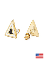 Black Enamel Triangle Post Earring