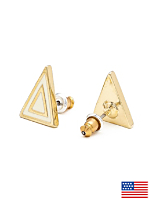 Creme Enamel Triangle Post Earring