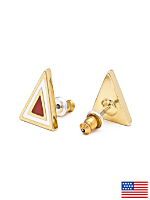 Red Enamel Triangle Post Earring
