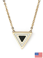 Black Enamel Triangle Necklace