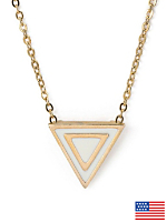 Creme Enamel Triangle Necklace