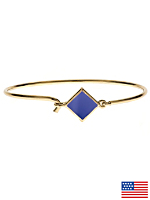 Hinged Wire Bracelet with Royal Blue Clasp