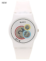 White Luxury Circles Wristwatch