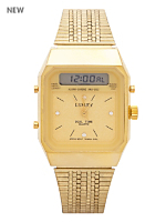 Gold Metal Luxury Dual Wristwatch
