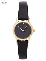 Black Pastel Leather Quartz Wristwatch