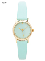 Mint Pastel Leather Quartz Wristwatch