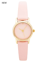 Peach Pastel Leather Quartz Wristwatch