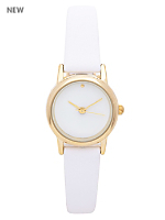 White Pastel Leather Quartz Wristwatch