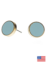 Baby Blue Large Round Post Earrings