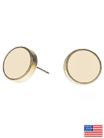Creme Large Round Post Earrings