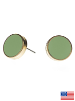 Spring Green Large Round Post Earrings