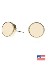 Creme Medium Round Post Earrings