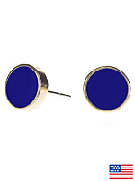 Navy Medium Round Post Earrings