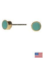 Mint Small Round Post Earrings