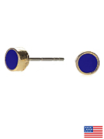 Navy Small Round Post Earrings