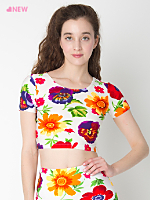 Floral Print Short Sleeve Crop Top