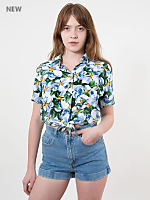 Floral Printed Rayon Mid-Length Tie-Up Blouse