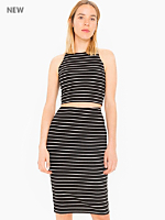 Striped Ponte Mid-Length Pencil Skirt