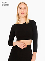 Solid Long Sleeve Ponte Crop Raglan Sweater