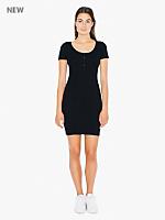 Short Sleeve Henley Rib Dress