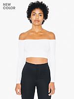 Cotton Spandex Long Sleeve Off-Shoulder Top