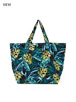 Jungle Leaves Print Nylon Tote