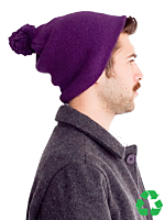 Unisex Recycled Cotton-Acrylic Blend Pom-Pom Beanie
