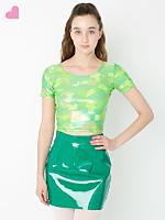 Geo Printed Shiny Short Sleeve Crop Top