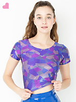Geo Printed Shiny Short Sleeve Crop Top