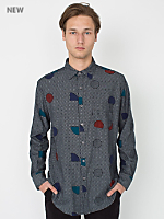 Printed Chambray Long Sleeve Button Up Shirt