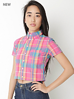 Plaid Cropped Short Sleeve Button Down Shirt