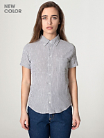 Unisex Seersucker Short Sleeve Button-Down with Pocket