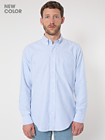 Stone Wash Striped Oxford Long Sleeve Button-Down with Pocket