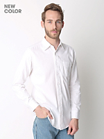 Cotton Twill Long Sleeve Button-Up with Pocket