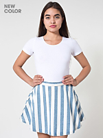 Striped Denim Circle Skirt